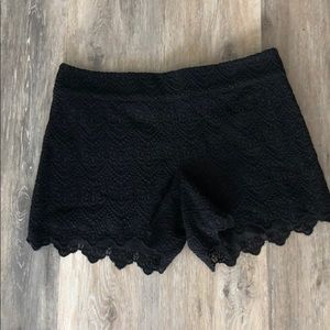 Anthropologie elevenses black crotchet lace shorts
